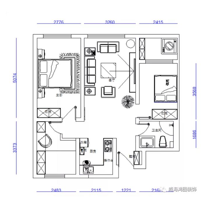 日式装修风格效果图,华辉东方城101平三居室